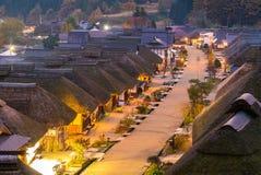 De zonsondergang Fukushima Japan van het Ouchujukudorp royalty-vrije stock foto