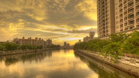 De zonsondergang in het Kanaal van Tainan Stock Foto