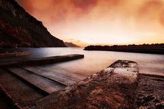 De zonsondergang Majorca van Valldemossa Stock Afbeelding