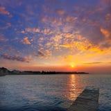 De zonsondergang Mediterraan Alicante Spanje van het Deniastrand Stock Foto