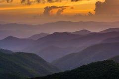 De zonsondergang over de Appalachian Bergen van Caney-Vork overziet o royalty-vrije stock afbeelding
