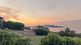 De zonsondergang in Sardinige Stock Afbeelding