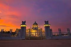 De zonsondergang Thailand van Bangkok Stock Afbeeldingen