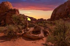 De zonsondergang toont door een natuurlijke zandsteenboog royalty-vrije stock afbeelding