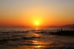 De zonsondergang in Turkije Stock Foto's