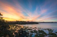 De Zonsondergang van Auckland Stock Afbeeldingen