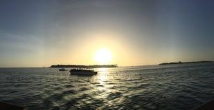 De zonsondergang van de avond stock fotografie