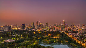 De zonsondergang van Bangkok Stock Foto