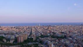 De zonsondergang van Barcelona timelapse stock footage