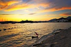 De zonsondergang van Bodrum Stock Foto