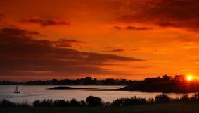 De zonsondergang van Bretagne Stock Foto's