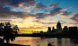 De zonsondergang van Cincinnati Stock Foto
