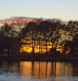 De zonsondergang van ciprestexas erachter Royalty-vrije Stock Afbeelding
