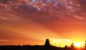 De zonsondergang van de avond Stock Afbeelding