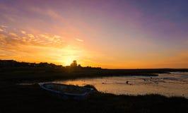 De zonsondergang van de avond Stock Foto's