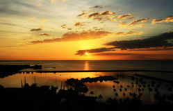 De Zonsondergang van de Baai van Manilla Stock Afbeelding