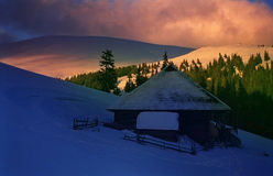De Zonsondergang van de berg in winter-2 royalty-vrije stock foto's