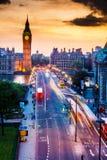 De Zonsondergang van de Big Ben stock foto's