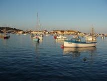 De Zonsondergang van de boot stock foto