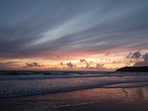 De zonsondergang van de Croydebaai in Noord-Devon Royalty-vrije Stock Afbeeldingen