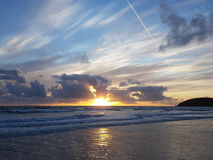 De zonsondergang van de Croydebaai in Noord-Devon Royalty-vrije Stock Foto's