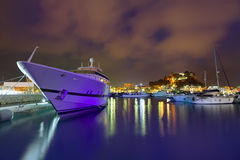 De zonsondergang van de Deniahaven in jachthaven in Alicante Spanje Stock Afbeelding
