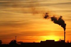 De Zonsondergang van de fabriek Stock Foto's