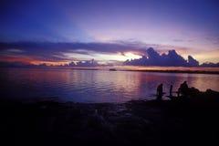 De Zonsondergang van de haven stock afbeeldingen