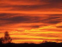 De zonsondergang van de herfst stock foto