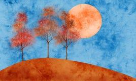 De zonsondergang van de herfst royalty-vrije illustratie