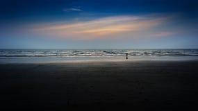 De zonsondergang van de kindvergadering dichtbij oceaan Stock Foto's