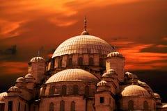 De zonsondergang van de moskee Royalty-vrije Stock Afbeeldingen