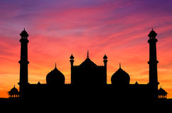De zonsondergang van de Moskee van Delhi Stock Foto's