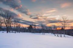 De Zonsondergang van de Muskokawinter Stock Afbeeldingen