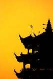 De zonsondergang van de pagode silhoutte Royalty-vrije Stock Foto's