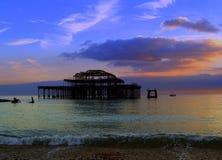 De zonsondergang van de pijler Stock Foto's