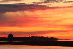 De Zonsondergang van de Rivier van Fraser, Delta, Brits Colombia stock fotografie