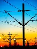 De zonsondergang van de spoorweg Stock Foto's