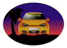 De zonsondergang van de sportwagen Stock Afbeelding