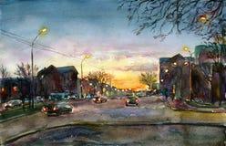 De zonsondergang van de stad Royalty-vrije Stock Fotografie