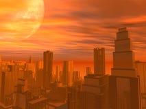 De Zonsondergang van de stad stock foto