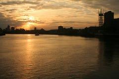 De zonsondergang van de stad Royalty-vrije Stock Foto's