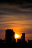 De Zonsondergang van de stad Stock Fotografie