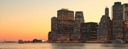 De Zonsondergang van de Stad van New York Royalty-vrije Stock Afbeeldingen