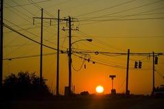 De Zonsondergang van de straat Stock Afbeeldingen
