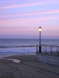 De zonsondergang van de straatlantaarn Royalty-vrije Stock Afbeelding