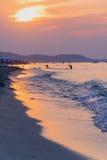 De zonsondergang van de strandbaai Royalty-vrije Stock Foto's