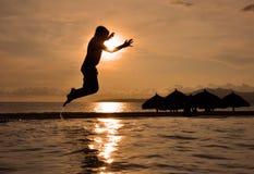 De zonsondergang van de vakantie Stock Afbeeldingen