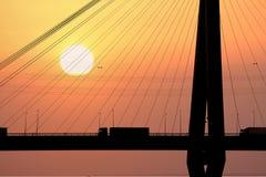 De zonsondergang van de vrachtwagen Royalty-vrije Stock Foto's