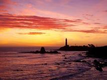 De Zonsondergang van de Vuurtoren van het Punt van de duif Stock Foto's